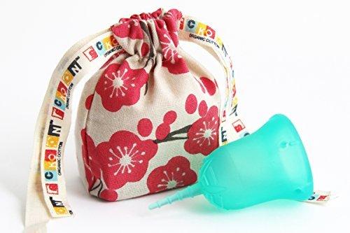 【初心者向け月経カップ】 初めてでも使いやすい生理カップ スクーンカップ オーガニックコットンポーチつき ハーモニー(アクア) サイズ1 未経産婦用