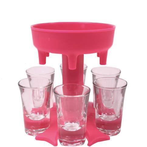 Shot Dispenser 6 Shot Glass Dispenser and Liquor Holder Drinking Games for Adults Party Upgrade Alcohol Bottle Carrier beer bong Wine Pourer Plastic Bar Accessories A-PT