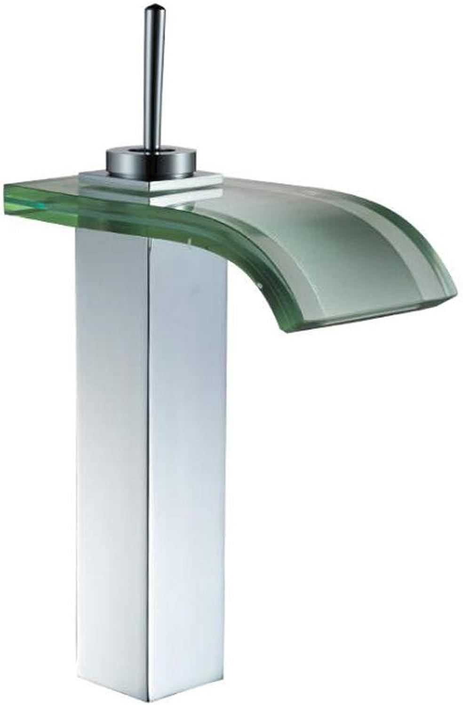 YYSLT Waschbecken Glas Wasserfall Einhebel Waschtischmischer Kaltes Und HeiEs Wasser Vorhanden Bad Armatur Waschtischarmatur,Silber