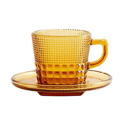 Henkeltasse aus Glas mit Unterteller, gelb, 2-tlg.