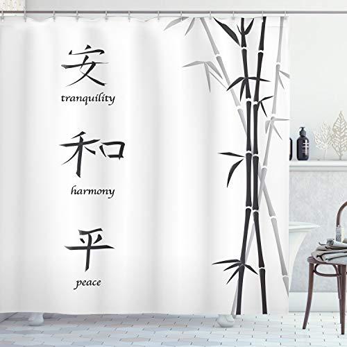 ABAKUHAUS Bamboe Douchegordijn, Peace Bamboo, stoffen badkamerdecoratieset met haakjes, 175 x 220 cm, Zwart wit