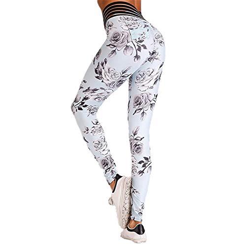 Cyose Fashion Flowers Printedgs Push Up Printing Sweatpants Leggins Women White XL