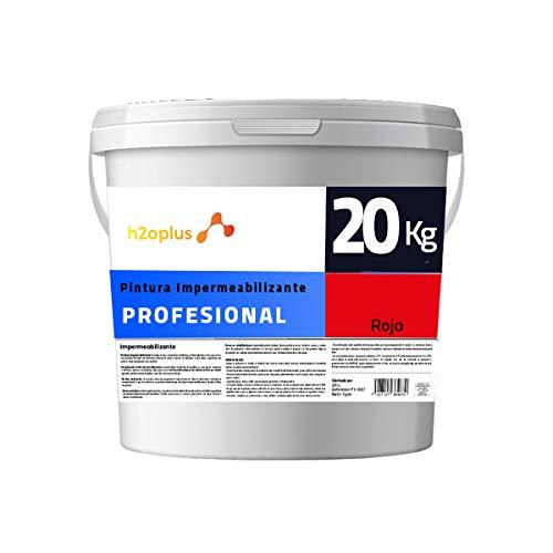 Profesional Pintura de Caucho Roja Impermeabilizante · Revestimiento Exterior para Terrazas y Azoteas Transitables · 20KG (16,6 L) · NO Necesita Fibra