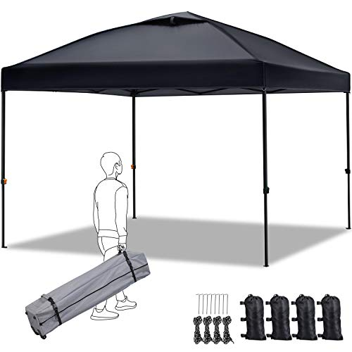 YAHEETECH 10 x 10ft Pop Up Canopy, Commercial Instant Canopies Ten Beach Shelter with Wheeled Carry Bag, Sand Bagsx4, Tent Stakesx8, Ropesx4 - Black