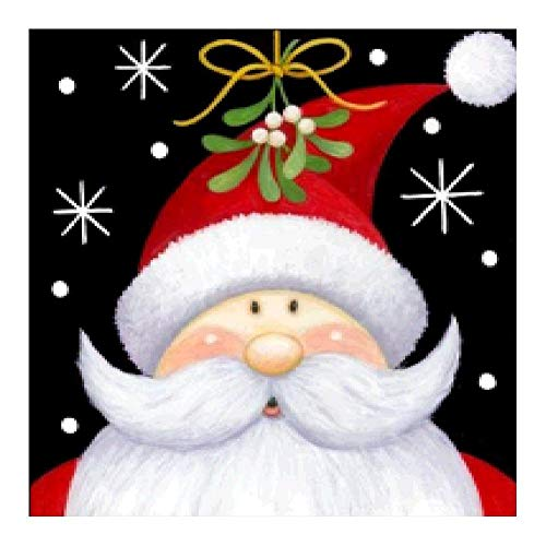VKTECH Christmas Santa Claus Full Drill 5D DIY Diamond Painting Kit Round Rhinestone Embroidery Cross Stitch Needlework Art Craft Gift for Home Living Room Decor 10 x 10 inch (C)