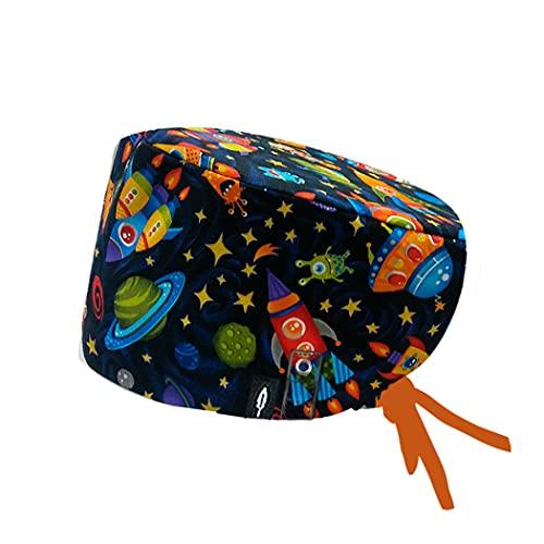 Modelo: COHETES CON SISTEMA CLICK - Pelo Largo -Gorro de Quirófano ROBIN HAT con sistema de sujeción con click - Ajustable - 100% algodón (Autoclave)