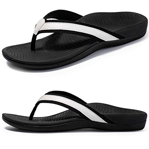 Nlissope Womens Sandals Flip Flop with Orthotic for Plantar Fasciitis Arch Support Athletic Slide Sandals Relieve Flat Feet, High Arch, Foot Pain Light Gray