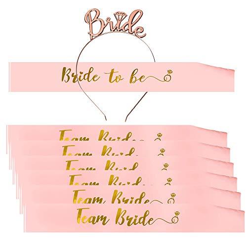 8 Stück JGA deko Bride Tribe Schärpen Set, Braut Schärpe Team Braut Schärpe mit Braut Stirnband, für Junggesellinnenabschied, Junggesellenabschied, Verlobung und Brautparty