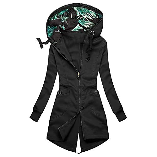 Hailmkont Giacca da donna con cappuccio, elegante cappotto da mezza stagione, con cerniera e tasche, casual, a maniche lunghe, a righe, Nero-11., XXL