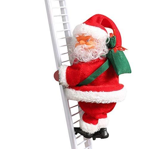 Babbo Natale elettrico cantante arrampicata su scala con sacchetto di regali, decorazione per albero di Natale, decorazione di casa, decorazione da parete