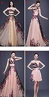 ドレス パーティードレス ウェディングドレス カラードレス ステージドレス Aライン マーメイド レディース aruka_emilia M Bロングドレス(ワンショルダー)