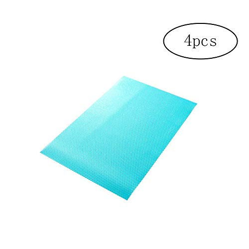 JER 4Alfombrillas Alla Moda, antimoho y antibacterias, para frigorífico. evitano restos quemados y Protege el frigorífico Blue