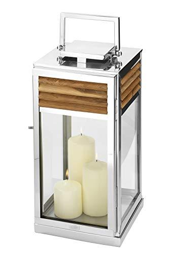 Fink Laterne Genua - Edelstahl mit Teak Holz Element 24x24 cm H 51 cm