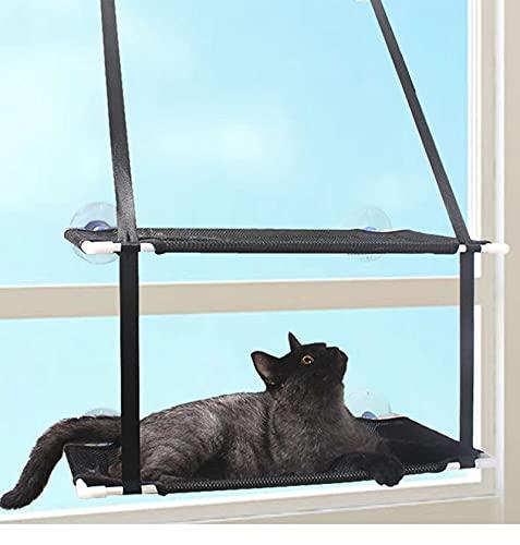 Shoplifemore Hamaca de gato de doble capa para ventana, manta de forro polar y juguete con perilla resistente, ventosas que ahorra espacio y fácil de montar (51 x 31 cm, doble capa negra)