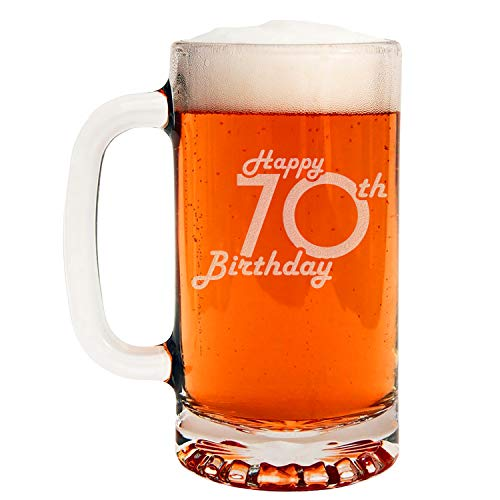 Etched 16oz Glass Beer Mug - Happy 70th Birthday - 70 Years Old Gifts