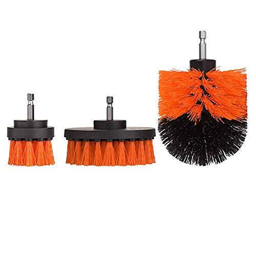 Sulifor Elektrischer Bohrkopf, orange, dreiteiliges Set Plus Schwamm, Mörtel Power Scrubber Reinigungsbürste Badreiniger Kombinationswerkzeug