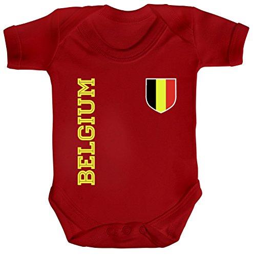 Belgique Belgien Fußball Fanshirt WM Gruppen Strampler Bio Baumwoll Baby Body kurzarm Jungen Mädchen Fan Trikot Belgium, Größe: 3-6 Monate,Red