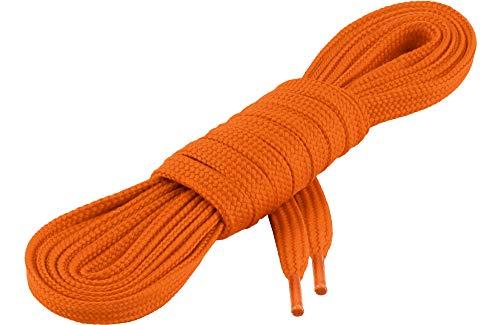 Ladeheid Qualitäts-Schnürsenkel LAKO1001, Flachsenkel für Arbeitsschuhen und Sportschuhen aus 100% Polyester, ca. 7 mm Breit, 18 Farben, 60-200 cm Länge, Orange77, 170cm
