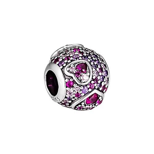 LILANG Pulsera de joyería Pandora 925, Ajuste Natural para Asy etric Hearts of Love Beads, Encanto de Plata esterlina para Mujeres, Regalos DIY
