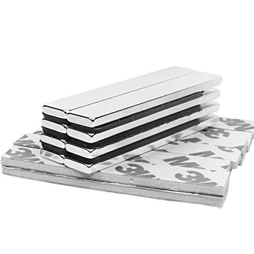 Magneti Neodimio,Tonpop 8 pezzi Calamite Magneti Adesivi 60 x 10 x 3mm Magneti Frigo con nastro adesivo di marca 3M,Lavagna Magnetica per calamite (8 pezzi)