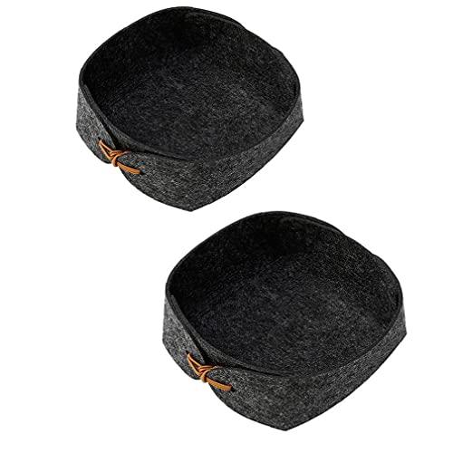 Caja De Almacenamiento De Fieltro Organizador Plegable Cesta Mini DIY para Las Claves De Monedas De Televisión Controles Remotos Relojes Celulares Negro 2pcs