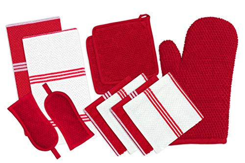 DAILY HOME ESSENTIALS - 11 Pack Cotton Terry Kitchen Linen Set (Kitchen Towels, Dish Cloth, Oven Mitt, Pot Holder & Pan Handle Sleeves) (Red) | Ideal for All Kitchen Household Tasks