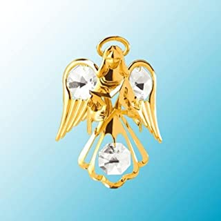 24k Gold Plated Guardian Angel with Star - Sun Catcher or Magnet - Clear Swarovski Crystal