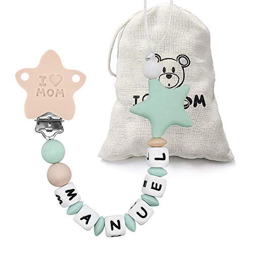 RUBY - Chupetero Personalizado para Bebé con Nombre Bola Silicona Antibacteriana con pinza de Acero Inoxidable, Chupetero Estrella (Menta)
