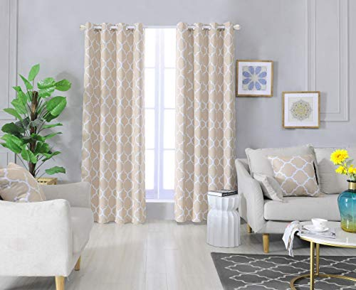 "Blackout Curtains Beige with Throw Pillow Covers 4 Pieces Set Thermal Insulated Room Darkening Window Curtain Panels with Grommets(52"" W x 84"" L, Beige)"