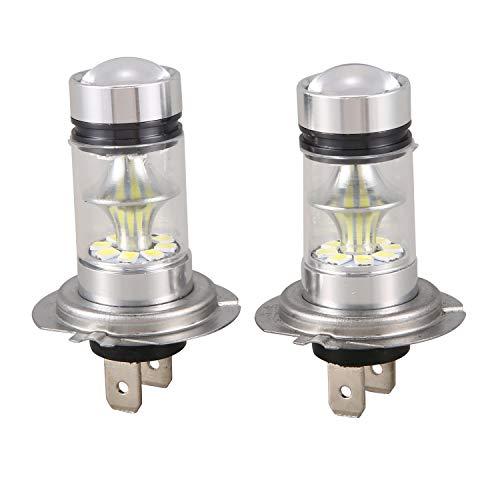 Pestelle 1 par de Bombilla LED H7 de Alto Voltaje Luz de Niebla del Coche 100W 20LED Faros de la lampara 6000K Blanco