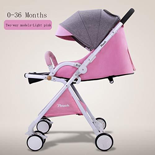 Poussetter Yhz@ Bébé bi-directionnel léger Tour Portable Peut Se situer Haute Paysage Pliant Chariot Enfant bébé Parapluie Voiture (Couleur : Light Pink)