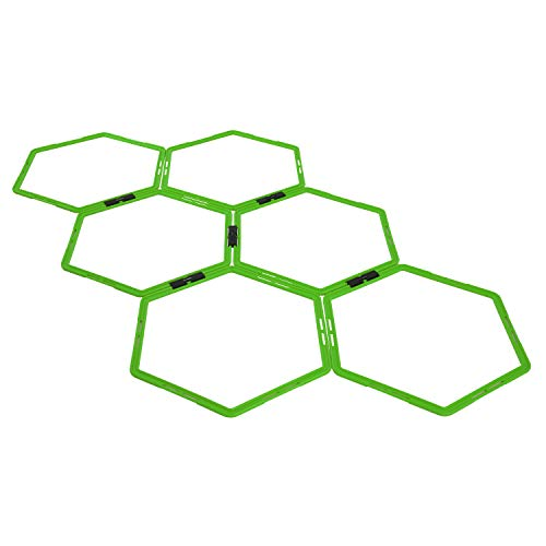 Yes4All Hex Agility Rings/Speed Rings with Carrying Bag – Hexagon Rings, Agility Hurdles for Agility Footwork Training (Set of 6 Neon Green Rings)