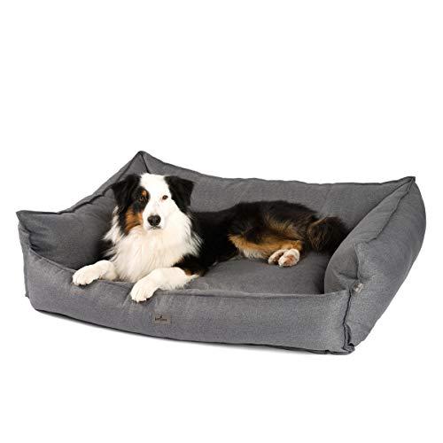 JAMAXX Premium Hundebett - Orthopädisch Memory Visco Füllung, Extra-Hohe Ränder, Waschbar, Hochwertiger Stoff mit viel Eleganz, Hundesofa PDB2018 (L) 120x90 grau