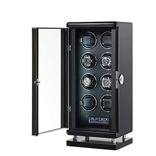 Cajas giratorias Reloj Inteligente Negro De Lujo Bobinadoras Automáticas Reloj Mecánico De Cuerda Automática Vitrina De Almacenamiento Madera Maciza Con Desbloqueo De Huellas Dactilares(Size:Z5204)