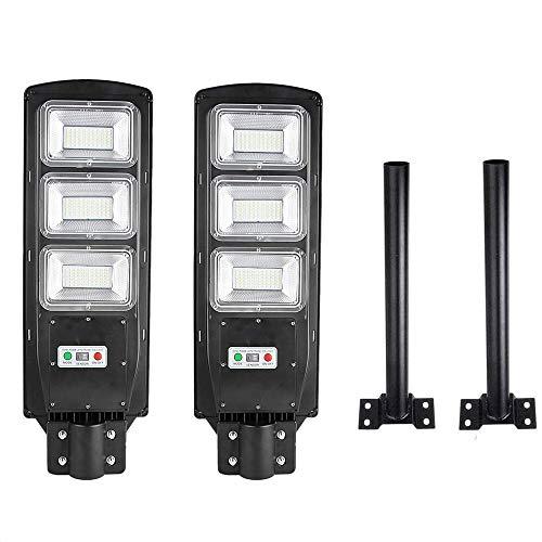 081 Store - 2X LAMPIONE STRADALE LED 90 W PANNELLO SOLARE FOTOVOLTAICO JD1940 CON TELECOMANDO + 2X PALO PER LAMPIONE STRADALE STAFFA IN METALLO NERO