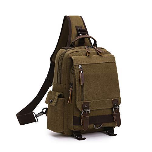 Wind Took Schultertasche Canvas Brusttasche Sling Rucksack Crossover Bag Vintage Umhängetasche Outdoor Daypack für Herren Damen, Coffee