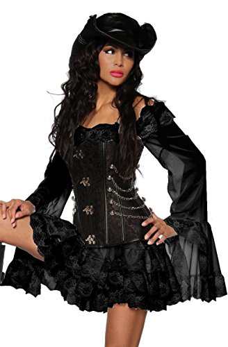 Piratenkleid / Long-Bluse - schwarz - XXL