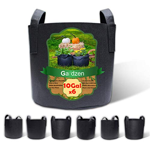 Gardzen 6-Pack 10 Gallon Grow Bags, Aeration Fabric Pots with Handles