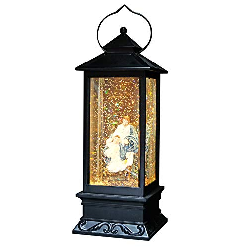 Eldnacele Battery Operated Plug-in Musical Lighted Christmas Water Snowing Glittering Snow Globe Lantern with Timer Christians Nativity Lantern Decor for Easter, Holy Family
