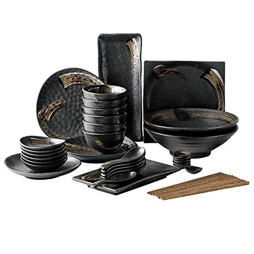 Juego de Vajilla de 14 Piezas - cerámica Platos Hondos Retro Set de comida multijugador - para Fiesta, Camping, Picnic-27pcs