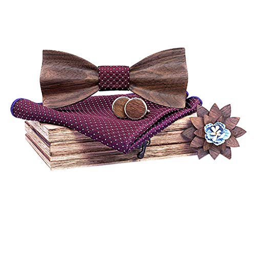 CUEYU Pajarita de Madera Hecha a Mano,pañuelo Conjunto de los Hombres Bowtie Madera Hueco Tallado y caja