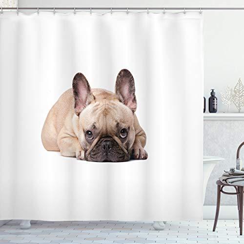ABAKUHAUS Bulldogge Duschvorhang, Lustige Haustier-Tierliebhaber, mit 12 Ringe Set Wasserdicht Stielvoll Modern Farbfest & Schimmel Resistent, 175x200 cm, Sandbraun Hellrosa Schwarz
