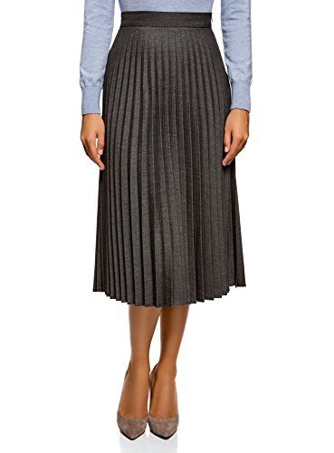 oodji Collection Donna Gonna Plissettata Lunga, Grigio, IT 46 / EU 42 / L