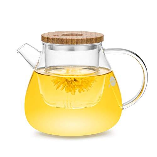 Friedos Tee - Teekanne mit Sieb und Deckel - 900ml Fassungsvermögen für losen Tee oder Beutel - Kanne aus Borosilikat Glas mit Filter bis 130°C - 900ml Volumen