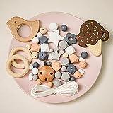 Mamimami Home DIY Baby Teether Spielzeug Schnullerkette Selber Machen Set Krankenpflege Halskette Silikon Armband Sechskant Perlen Beissring Hölzern Schnuller-Clips