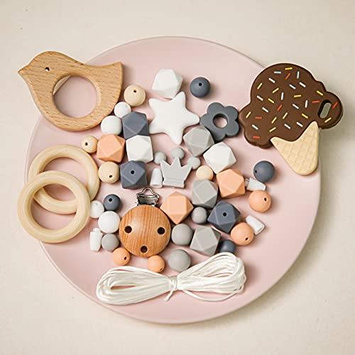 Mamimami Home DIY Jouet Baby Teether Collier de soins infirmiers Bracelet en silicone Perles Hexagonales Anneau de dentition En bois Clips de sucette