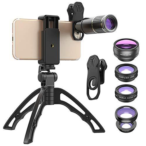 ALRY Telefoon Camera Lens,6 in 1 Externe 16X Metal HD Telefoon+198°Fisheye+15X Macro+0.63X Breed-Hoek+CPL+Star Filter Lens met Statief