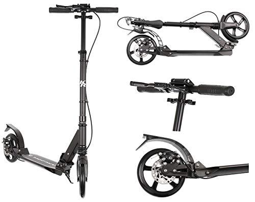 Kruzzel Roller Kickscooter Tretroller Cityroller ABEC9 Gummiräder Höhenverstellbar 10285, Farbe:Schwarz