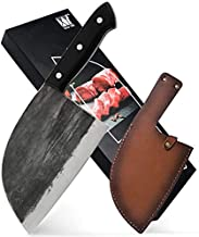 XYJ Forging Serbian Chef Knife Kitchen Knife with Full Tang Handle Leather Sleeves