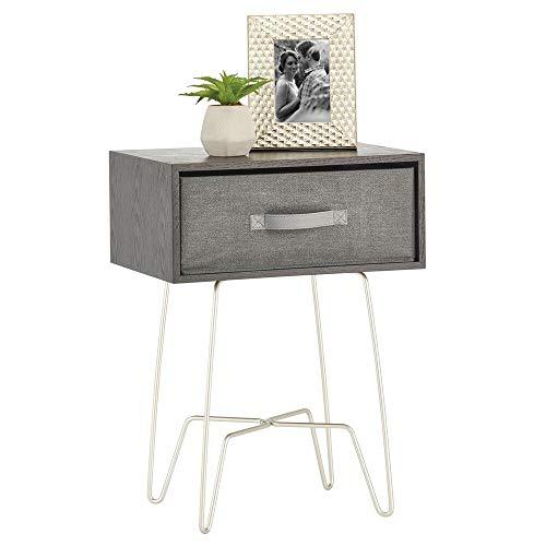 mDesign Mesita auxiliar de madera y metal pequeña – Elegante mesa auxiliar vintage para el salón o el dormitorio – Mesa de centro con moderno diseño de horquilla – negro y gris